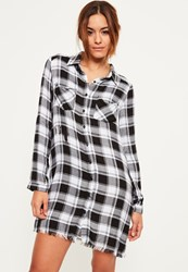 Missguided Black Frayed Edge Checked Shirt