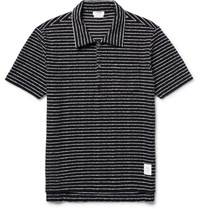 Thom Browne Striped Cotton Boucle Polo Shirt Blue