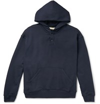 Fear Of God Oversized Loopback Cotton Jersey Hoodie Blue