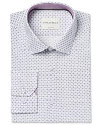 Construct Con. Struct Men's Slim Fit Cream Diagonal Cross Print Dress Shirt