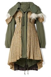 Junya Watanabe Faux Fur Trimmed Cotton Blend Canvas And Floral Print Satin Jacquard Coat Army Green