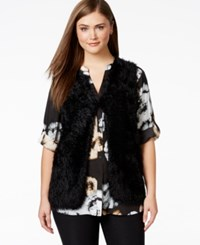 Calvin Klein Plus Size Faux Fur Vest Black