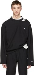 Vetements Black Champion Edition Cut Out Neckline Pullover