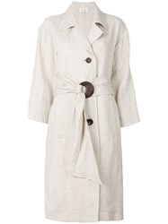 Isa Arfen Single Breasted Coat Nude And Neutrals