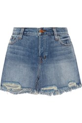 J Brand Ivy Distressed Denim Shorts Mid Denim