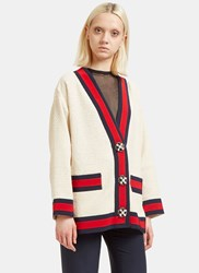 Gucci Jewelled Button Tweed Knit Cardigan Cream
