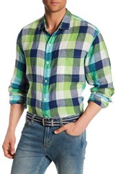 Tommy Bahama Happy Checkmore Regular Fit Linen Shirt Blue