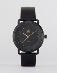 Asos Watch In Black With Rose Gold Black