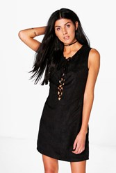 Boohoo Lace Up Cut Out Back Faux Suede Shift Dress Black