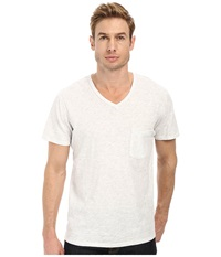 7 For All Mankind S S Raw V Neck Tee Heather White Men's Short Sleeve Pullover