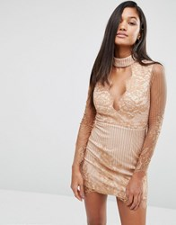 Love Triangle Lace Plunge Front Mini Dress With Choker Caramel Beige