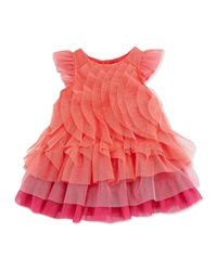 Catimini Ruffled Tiered Tulle Dress Orange Pink Size 3Y 6Y