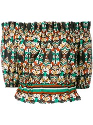 Jucca Off Shoulders Floral Cropped Top Women Cotton 44