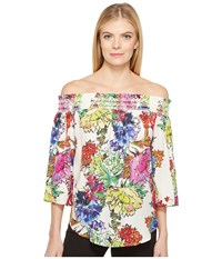 Karen Kane Watercolor Floral Off The Shoulder Top Print Women's Clothing Multi