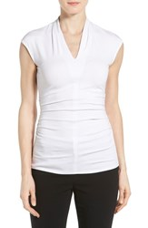 Women's Vince Camuto Pleat Side Ruched V Neck Top Ultra White