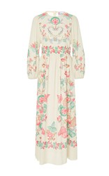 Red Valentino Three Quarter Sleeve Printed Midi Dress