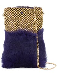 Laura B Soft Mobile Bag Women Leather Rabbit Fur Brass One Size Pink Purple