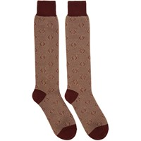 Gucci Red Piquet Knit Gg Socks