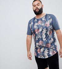 Sik Silk Siksilk Muscle Fit T Shirt In Floral Print Exclusive To Asos Navy