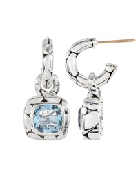 John Hardy Blue Topaz Square Drop Hoop Earrings
