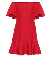 Valentino Wool And Silk Minidress Red