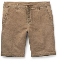 Massimo Alba Vela Slim Fit Watercolour Dyed Linen And Cotton Blend Shorts Brown