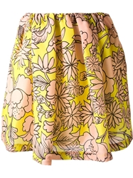 Msgm Floral Print Skirt Yellow And Orange