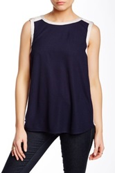 Autograph Addison Healy Mixed Media Tank Blue