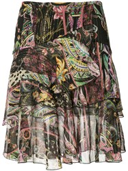 Roberto Cavalli Floral Print Layered Skirt Women Silk Polyester 38 Black
