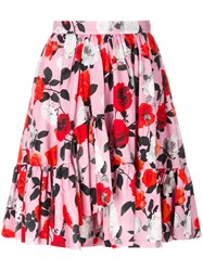 Msgm Floral Flare Skirt Cotton Pink Purple