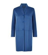 Max Mara Maxmara Fiumana Wool Blend Pea Coat Female Blue