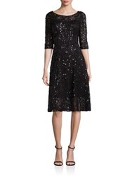 Kay Unger Solid Roundneck Dress Midnight