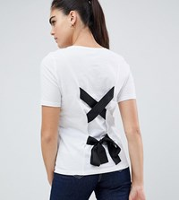 Noisy May Tall Tie Back T Shirt White