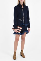 Marques Almeida Ruffled Denim Skirt Navy