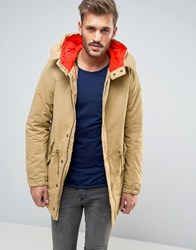 Scotch And Soda Long Parka With Lining Sand Beige