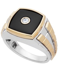 Macy's Men's Onyx 3 3 8 Ct. T.W. And Diamond 1 10 Ct. T.W. Two Tone Ring In 14K Gold