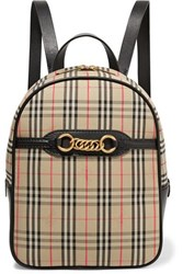 Burberry Embellished Leather And Checked Cotton Drill Backpack Beige