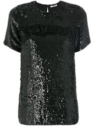P.A.R.O.S.H. Gathered Sequin T Shirt Viscose Pvc Sequin L Black