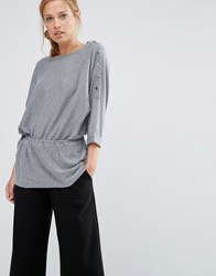 Warehouse Drawstring Waist Jumper Grey Marl