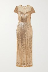 Jenny Packham Delphine Embellished Sequined Tulle Gown Gold