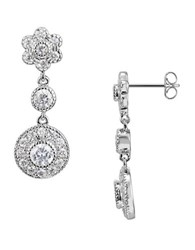 Lord And Taylor Sterling Silver Cubic Zirconia Drop Pendant Earrings