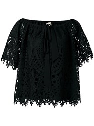 Temperley London Berry Lace Top Black