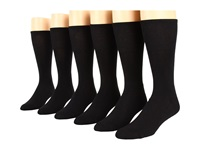 Ecco Socks Dress Cushion Mercerized Cotton 6 Pack Black Men's Crew Cut Socks Shoes