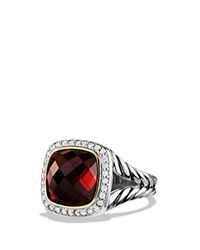 David Yurman Albion Ring With Garnet And Diamonds With 18K Gold Red Silver
