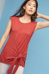 Anthropologie Dayla Tie Front Tunic Red