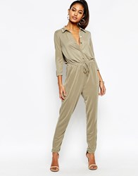 Lipsy Lightweight Jumpsuit With Drawstring Waist Khaki