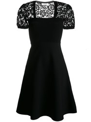 Valentino Lace Cap Sleeve Dress Women Polyester Viscose L Black