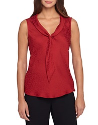 Tahari Arthur S. Levine Sailor Tie Blouse Red