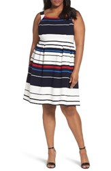 Adrianna Papell Plus Size Women's Stripe Ottoman Fit And Flare Dress Blue Multi