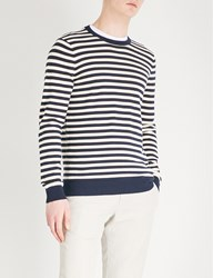Gieves And Hawkes Striped Cotton Jumper Navy